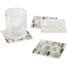 Shop Yanai Capiz Coasters Set of A two-for-one resting place for your drink in natural capiz. Set of four coasters designed by Sarah Von Dreele features handpainted design in soft neutrals on one side, natural pieced capiz on the other. Modern Coasters, Bar Coasters, Coaster Design, Coaster Set, Lead Edge, Petrified Wood, Home Kitchens, Cleaning Wipes