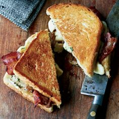 Grilled Cheese-and-Bacon Sandwiches with Cheese Curds - yum! Maybe come into our tasting room to purchase some fresh cheese curds! Pair this gooey, savory sandwich with a glass of St. I Love Food, Good Food, Yummy Food, Tasty, Egg And Cheese Sandwich, Bacon Sandwiches, Grilled Sandwich, Sandwich Recipes, Grilled Food