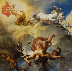 """""""The Sun, or the Fall of Icarus"""" by Merry-Joseph Blondel This painting depicts Icarus's fall because he got too close to the sun. The top figure is Apollo on his carriage. The bottom left is Daedalus looking behind to see his son Icarus falling. Greek Paintings, Classic Paintings, Old Paintings, Ceiling Painting, Ceiling Murals, Renaissance Kunst, Renaissance Paintings, Icarus Tattoo, Daedalus And Icarus"""