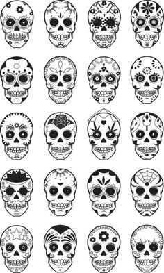 Sugar Skulls - love top row, 3rd from left... Matches by flower tattoo theme I seem to have going on, maybe ill incorporate into my 1/4 sleeve after wedding :)