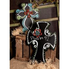 Primitive Wood Chalkboard Crosses with Spring Metal Accent
