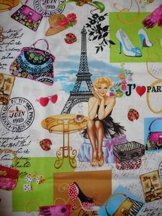 Paris Fabric April in Paris  Vargas Girls Pin Up Girls
