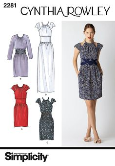 Simplicity 2281 from Simplicity patterns is a Misses' Dress, Cynthia Rowley Collection sewing pattern