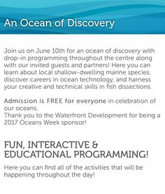 @thediscoverycentre is FREE today ... June 10 2017 | 10am-5pm FREE admission because #oceansweekhfx  Join us on June 10th for an ocean of discovery with drop-in programming throughout the centre along with our invited guests and partners! Here you can learn about local shallow-dwelling marine species discover careers in ocean technology and harness your creative and technical skills in fish dissections. . Admission is FREE for everyone in celebration of our oceans.  Thank you to the…