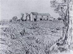 Farmhouse in a Wheat Field Vincent van Gogh Fecha: Arles, Bouches-du-Rhône, France Estilo: Posimpresionismo Género: dibujo y boceto Art Van, Van Gogh Art, Van Gogh Drawings, Van Gogh Paintings, Van Gogh Zeichnungen, Van Gogh Landscapes, Vincent Willem Van Gogh, Painted Vans, Art Simple