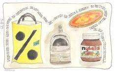 Shoppen bij de sale van Benneton en pizza bakken (met Nutella) #illustratie #artjournal #watercolour #vakantie #italie #Sandysign. http://sandysign.nl