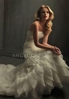 Organza Mermaid Strapless Floor Length Zipper up Sleeveless Wedding Dress