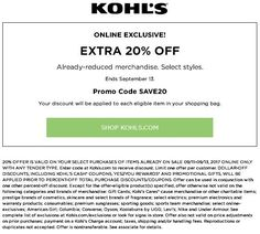 127e4fa4f4cb Kohls Coupons Extra 20% Off Select Already-reduced Items  picoupons http