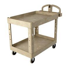 Heavy Duty Beige 2-Shelf Utility Cart with Lipped Shelf in Medium