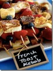 Brunch Buffet- brunch on a stick... easy for guests to take; supply syrup, butter and other toppings on each table in trendy themed containers.  This will be a hit while keeping the food line flowing :) Very important to keep guests satisfied and occupied at a shower.
