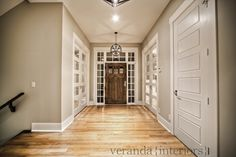 entry way with door entries to the right and left. ( where will the stairway fit? Veranda Interiors, Veranda Magazine, Entry Doors, Entryway, Estate Homes, Stairways, Home Interior Design, Sweet Home, New Homes