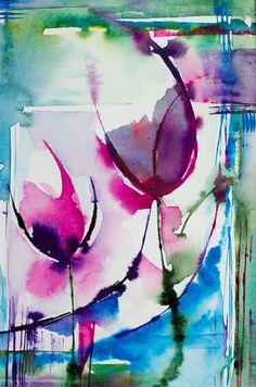 Petit instant N°180 (Peinture), 21x15 cm par Véronique Piaser-Moyen Aquarelle originale sur papier 300 G