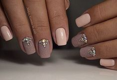 Gorgeous precious dreamy pink nail art with jewels