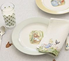 Hope theyre still making this when I have kids.Beatrix Potter by Pottery Barn kids Beatrix Potter, Peter Rabbit Cake, Peter Rabbit Party, Cottage Nursery, Susan Wheeler, Peter Rabbit And Friends, Kids Dishes, Storybook Cottage, Peter Cottontail