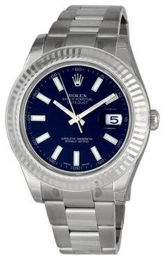Rolex Datejust II Blue Index Dial Fluted 18k White Gold Bezel Oyster Bracelet Mens Watch 116334BLSO Rolex, http://www.amazon.com/dp/B003U4IB8Q/ref=cm_sw_r_pi_dp_KZVXqb0SDNE16