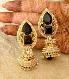 Black friday deals and offers mirraw Buy Fabulous Black Gold Plated Bandani Jhumka Earrings jhumka online Copper Earrings, Stone Earrings, Antique Jewellery Online, Indian Accessories, Black Gold Jewelry, Imitation Jewelry, India Jewelry, Wedding Jewelry Sets, Fashion Earrings