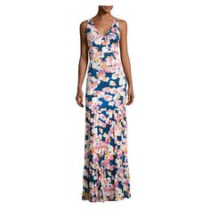 Yumi Kim Dress to Impress Maxi Dress (9,920 INR) ❤ liked on Polyvore featuring dresses, keyhole maxi dress, flower print maxi dress, watercolor dress, pleated maxi dress and fitted dress