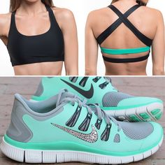 a few more of these Black and Mint sports bras left! Grab them before they re gone for good! What color should we make next in this popular style Athletic Outfits, Athletic Wear, Sport Outfits, Sport Fashion, Look Fashion, Fitness Fashion, Site Nike, Nike Shoes Outlet, Yoga