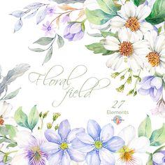 Acuarela Floral elementos flores mano del campo por AurAandTheCat