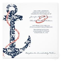 Ship Anchor Beach Wedding Invitation!  This chic and stylish tropical beach wedding invitation features the image of a ship anchor and rope with damask patterned navy blue and coral pink colors against a white background. A perfect nautical themed design for any ocean-side party or event!