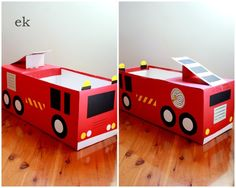 Tutorials are now available: {Part 1 - simple car} here and {Part 2 - larger truck} here. Last week I was expecting to make one vehicle for the little man out of a nappy box (diaper box). Cardboard Box Crafts, Cardboard Toys, Cardboard Furniture, Cardboard Playhouse, Fireman Party, Cardboard Fireplace, Valentine Day Boxes, Valentines, Emergency Vehicles