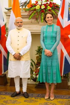Kate Middleton in Temperley London and Prime Minister of India Narenda Modi in New Delhi, India on Tuesday. Photo: Dominic Lipinski/Pool/Getty Images.