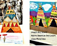 Class Mural Art Lesson Native American Teepees History Grades Pre-k to Grade Native American Lessons, Native American Teepee, Native American Art, Drawing Lessons, Art Lessons, Joy Art, Fun Arts And Crafts, Cooperative Learning, Mural Art