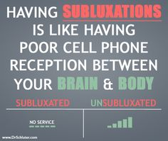 Subluxations impair your nervous system's ability to function properly. That means whatever cells, tissues or organs that nerve goes to can't work properly either. Ever have poor cell phone service? You can't share information with the person on the other line and they can't share information with you, just as subluxation creates a poor communication between the brain (which controls everything) and the body!