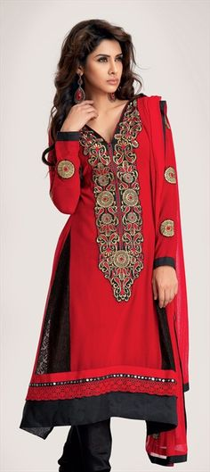 97717, Party Wear Salwar Kameez, Faux Georgette, Resham, Patch, Zari, Border, Black and Grey, Red and Maroon Color Family $68