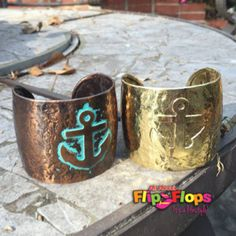 Hammered Metal Anchor Cuff Bracelet