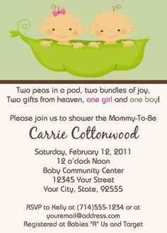 Two Peas In A Pod Baby Shower by LCsCustomInvitations on Etsy, $15.00