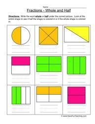 math worksheet : halves thirds fourths worksheet 1  fractions worksheets  : Working With Fractions Worksheet