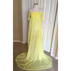 Closed Yellow Jersey Chiffon Off Shoulder Short Sleeves Maternity Gown... ($95) ❤ liked on Polyvore featuring maternity, black, skirts and women's clothing