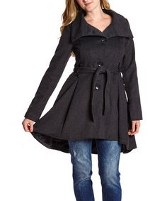 Look what I found on #zulily! Charcoal Tweed Funnel Collar Coat by Yoki #zulilyfinds