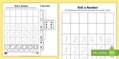 Roll a Number Activity Sheet - EYLF, Numeracy, Number formation, number recognition, subitising, Worksheet, numbers and algebra, di