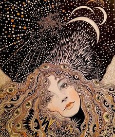 Yeah, I woke up like this...at 2:34 PM. Happy holidaze. Art by @dariahlazatova. . . . . . #illustration #drawing #femaleartist #dariahlazatova #queenbey #moon #sleep #morningmood #saturdaze #holidaze #femaleartists #emergingartist #trippy #woah #spiritualart