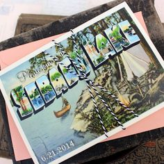 Vintage Large Letter Postcard Wedding Invitation by beyonddesign, $45.00
