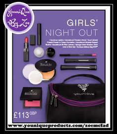 This collection includes: 1 Moodstruck 3D Fiber Lashes+ 1 Moodstruck Opulence Lipstick 1 Moodstruck Precision Pencil 1 Moodstruck Minerals Pressed Blusher 1 Touch Mineral Pressed Powder or Cream Foundation 1 Splurge Cream Shadow 1 Precision Brow Gel or Liner 1 Younique makeup bag   #girlsnightoutcollection #youniquecollections #makeupkit #younique #uk #usa #canada #germany #newzealand #australia #mexico