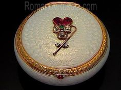 A SUPERB FABERGE Antique Gem-Set Pearl White Guilloché Enamel Silver-Gilt Box with Two-Color Gold Mounts      made in St. Petersburg between 1899 and 1903 by Faberge's head workmaster Michael Perchin
