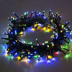 Aleko 35 ft Solar Multicolored 100 LED Holiday String Lights Lot of 2 (Multicolor), Multi (Plastic) Christmas Colors, Christmas Holidays, Christmas Decorations, Chandeliers, Solar, Deco Led, Autumn Decorating, Decorating Ideas, Christmas String Lights