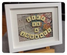 Life is a Journey. Scrabble Art made by me! Scrabble Letter Crafts, Scrabble Tile Crafts, Scrabble Frame, Hobbies And Crafts, Fun Crafts, Diy And Crafts, Frame Crafts, Diy Gifts, Craft Projects