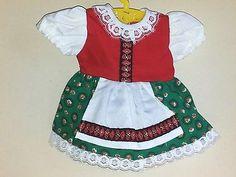 Vintage-Puppenkleid-Dirndl-1-tlg-Laenge-19-cm-Landhaus-Puppenmoden