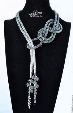 "Lariat ""Gray Light"" from Swarovski - order . - Lariat ""Gray Light"" from Swarovski – order at the Fair of Masters – Jewelry Knots, Fabric Jewelry, Jewelry Crafts, Beaded Jewelry, Handmade Jewelry, Silver Jewelry, Jewelry Shop, Jewelry Accessories, Jewelry Making"