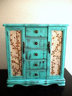 Elagant Hand Painted Baby Blue Wooden Jewelry Box
