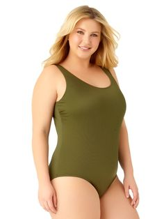 83f894400c  24.99 Catalina Women s Plus Size Moss Ribbed One Piece Swimsuit Swimsuit  Fabric