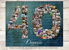 Celebrate a 40th Birthday or a 40th wedding Anniversary... Many years of LOVE with this Personalized Canvas or Print featuring your own pictures