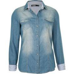 chemise bleu très clair, boutonné, manches longues, revers et doublure  rayés, poches f00b0315b85d