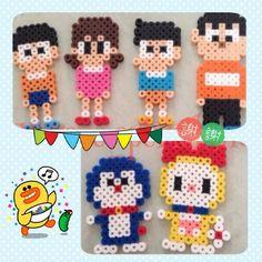 Doraemon characters hama beads by pixelbeadsdiy