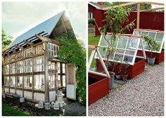 14 vackra växthus av gamla fönster! Art Shed, Cold Frame, Conservatory, Shutters, Greenhouses, Home And Garden, Greenhouse Ideas, Yard Ideas, Yards