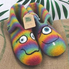 Monster Slippers, Natural Latex, Little Monsters, Sell On Etsy, Mittens, Things To Come, Wool, How To Make, Random Stuff